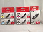 Canon 佳能 CLI-551 XL PGI-550 XL 墨盒5件装 适用于Pixma iP7250, MG 5450, MG 6350