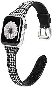 Moolia 超薄真皮表带兼容 Apple Watch 表带,38 毫米 40 毫米替换表带,时尚快速释放手镯,男女皆宜 iWatch 系列 6 5 4 3 2 1 Grid