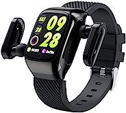 智能手表 TWS 蓝牙耳机智能手环 2 合 1 健身追踪器 带心率监测器 活动追踪器 带 1.3 英寸屏幕、IP68 防水计步器 男女皆宜