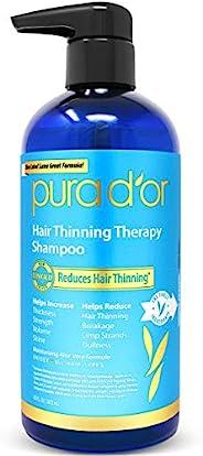 PURA D'OR防脱发洗发水,注入有机摩洛哥坚果油,生物素和天然成分,适合所有发质,男士和女士,16盎司(约480毫升)(包装可能有