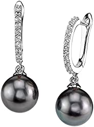 THE PEARL SOURCE 8-9mm 純正黑塔希提南海養殖珍珠 Zara 女士耳環