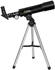 National Geographic 50/360望遠鏡 配有鋁制三腳架 60倍放大 帶天頂鏡 適合陸地及行星觀測 黑色