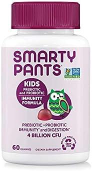 SmartyPant 儿童每日胶粘维生素;益生元; 无麸质,有益于吸收及人体系统*; 40亿CFU,素食主义者,葡萄味,60粒(30天量)