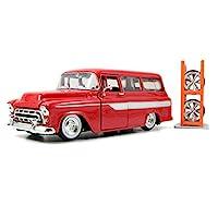 1957 雪佛兰 Suburban 红/白条纹带架 1:24 压铸汽车