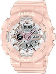 CASIO 卡西欧 女士模拟数字石英手表 树脂表带BA-110RG-4AER粉红色,