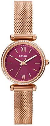 Fossil Carlie 迷你三指针镶嵌水晶不锈钢网眼手表 ES5011