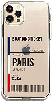 Dparks iPhone 12 Pro Max 透明手机壳 [ 行李标签 飞机 手货物 标签软质 防止粘附痕迹 TPU Qi充电 无线充电 苹果手机 12 Pro Max 手机套 ] 软透明手机壳 PARIS DS19