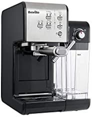 Breville 铂富 PrimaLatte II 意式咖啡机 VCF108X-01 19Bar意大利泵 适用于咖啡粉或咖啡包 一体式自动奶泡器,黑色/银色