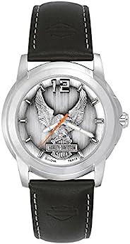 Harley-Davidson® Bulova® 男式手表。 高腰青灰色表盘。 76A12