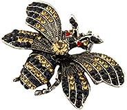 Knighthood 黑色銀色裝扮蜜蜂 香檳黑色和紅色施華洛世奇細節翻領針/胸針
