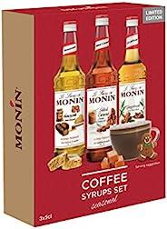 Monin 特殊场合咖啡糖浆礼品套装,姜饼,盐焦糖,蜂巢,150毫升