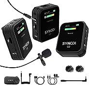 SYNCO G2(A2) 2.4GHz-无线-Lavalier-麦克风系统 TFT 屏幕,带 1 个接收器,2 个发射器/2 个外部Lav-Mic,低切过滤器功能,适用于数码单反相机、摄像机、智能手机和平板电脑录音机