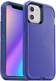 AICase 适用于 iPhone 12 手机壳,摔落保护全身坚固重型手机壳,防震/防摔/防尘 3 层保护坚固耐用保护套适用于 Apple iPhone 12