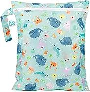 Bumkins 防水湿袋,可水洗,可重复用于旅行、海滩、游泳池、婴儿车、尿布、脏健身房衣服、湿泳衣、洗漱用品,12x14 - 海洋生活
