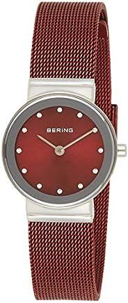 BERING 百灵 女式石英手表 不锈钢表带 红色 14(型号: 10126-303)