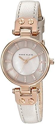 ANNE KLEIN 女式 AK / 1950rgtp 玫瑰金手表灰褐色皮革表带