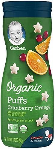 Gerber 泡芙谷物小吃,蔓越莓橙子,1.48盎司(42g),6瓶装