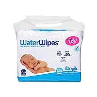 WaterWipes 無香味嬰兒濕巾,適合敏感和新生兒皮膚,4包(240片濕巾)