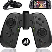 TUTUO 无线开关 Joy-Con 控制器,适用于 Nintendo Switch/Switch Lite,Switch Joypad 控制器替换件,适用于 Joycon 带可编程宏、涡轮、运动控制和双重冲击(黑色)