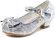 Athlefit 女童正装鞋 公主鞋 高跟鞋 亮片 玛丽珍鞋 花朵女孩 婚礼派对高跟鞋 (幼儿 / 大孩子)