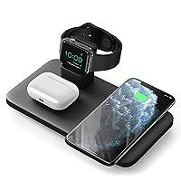 Seneo 3 合 1 无线充电板,AirPods Pro/2 无线充电板,iWatch 5/4/3/2 充电底座,7.5W Qi 快速充电,适用于 iPhone 11/11 Pro Max/SE 2/XS Max/XR/XS/X/8/8P(无适配器/iWatch 电缆)
