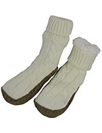 N'Ice Caps 女童绞花针织拖鞋袜,防滑抓地鞋底