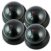 假相机、假*摄像头户外、虚拟圆顶*摄像机,无线监控系统逼真外观,带闪烁红色 LED 灯,适合家庭或商务(4 件装)