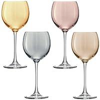 LSA 國際金屬波爾卡*杯(4 只裝),13.5 液 盎司,多種顏色