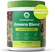 Amazing Grass Green 食品胶囊:粉末与螺旋藻,小球藻,消化酶和益生元,原始,30粒,8.5盎司,240克