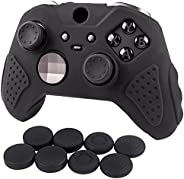 CHIN FAI 手柄套 适用于 Xbox Elite 控制器 - 皮肤防滑硅胶磁性保护套适用于 Xbox One Elite 无线控制器,带 8 个拇指握把(黑色)