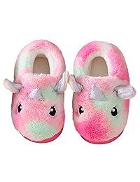 Ainikas 男孩女孩毛绒家居拖鞋幼儿 Liitle 儿童保暖蓬松毛绒拖鞋防滑冬季拖鞋