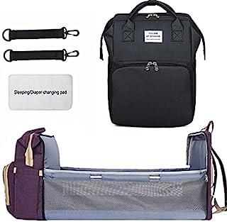 便携式可折叠婴儿床尿布包背包,旅行摇篮防水可折叠婴儿床,带旅行床尿布垫婴儿车收纳袋(黑色)