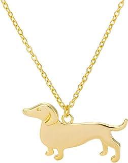Qermolas 腊肠犬吊坠吊坠项链狗动物宠物纪念珠宝女式