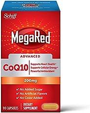 Schiff 旭福 MegaRed Advanced 胶囊(一盒90粒),辅酶Q10 200毫克(每份),有助于支持心脏和机体能量*,抗氧化剂,防止自由基*,无添加色素或糖分