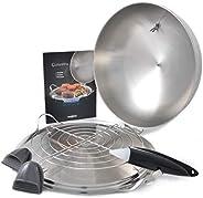 Mastrad O'Plancha - Griddle & Lid 烹饪烧烤铝钢,无粘涂层,耐热,可用洗碗机清洗