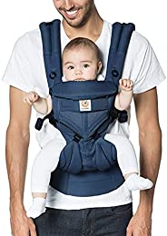 Ergobaby Omni 360 全位置婴儿背带,带腰部支撑,凉爽透气网,适用于7-45磅(约3.18-20.41千克)的新生儿至蹒跚学步的宝宝,午夜蓝