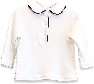Pristus 男婴 Polo 衫 - 棉 - 长袖纯白色基础款 - 婴儿