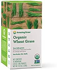 Amazing Grass Organic Wheat Grass Powder, Individual Servings, 15 count .28oz, Greens, Detox, Alkalize, whole
