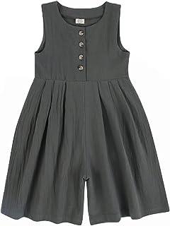 幼童女童夏季无袖沙滩哈伦裤连身衣纯色休闲服装连衫裤