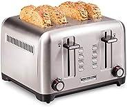 Hamilton Beach Professional 4 切片烤面包机,带百吉饼,除霜和再加热设置,不锈钢(24990)