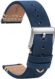 TStrap 皮革表带 18 毫米 – 软蓝色快速释放表带替换件 – *运动手表表带男式女式 – 智能手表手链扣 – 19 毫米 20 毫米 21 毫米 22 毫米