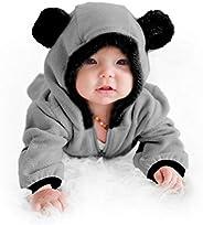 Cuddle Club 抓绒婴儿睡袋连体衣适合新生儿至 4T - 婴儿睡衣冬季夹克外套幼儿服装 Bear - Grey 4T