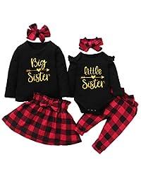 Aslaylme 女婴配对姐妹套装小女孩圣诞服装套装带头带