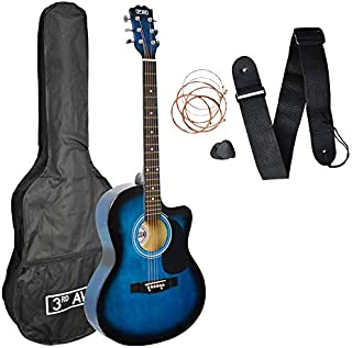 3rd Avenue 4/4 全尺寸切边原声吉他包,适合初学者,蓝色,带袋,肩带,拨片和备用琴弦