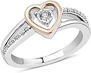 钻石定情戒指 纯银和 10k 玫瑰金 1/10 克拉