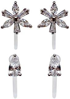 Miyabi 优雅水晶花朵隐形夹式耳钉女士透明水钻舒适精致夹式非穿孔耳环