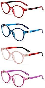 4 件装儿童蓝光眼镜,防眼*防蓝光电脑游戏电视手机眼镜,适合 3-10 岁男孩女孩(2-4 种颜色)
