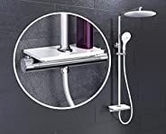 EISL DX1102CST GRANDE VITA 淋浴系统,带恒温器和搁板,带壁挂支架(也适用于现有钻孔)淋浴柱,淋浴装置,套装带淋浴配件,白色