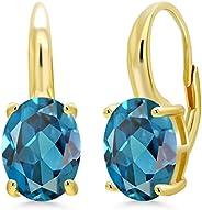 宝石王 6.00 克拉椭圆形伦敦蓝黄玉 18K 黄金镀银耳环
