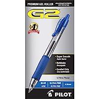 PILOT G2 高級可填充和可伸縮滾珠中性筆,超細筆尖,藍色墨水,12 支裝(31278)